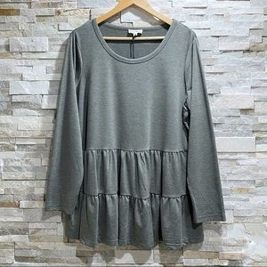 Jane and Delancey Tiered Smock Olive Green Tee NWT